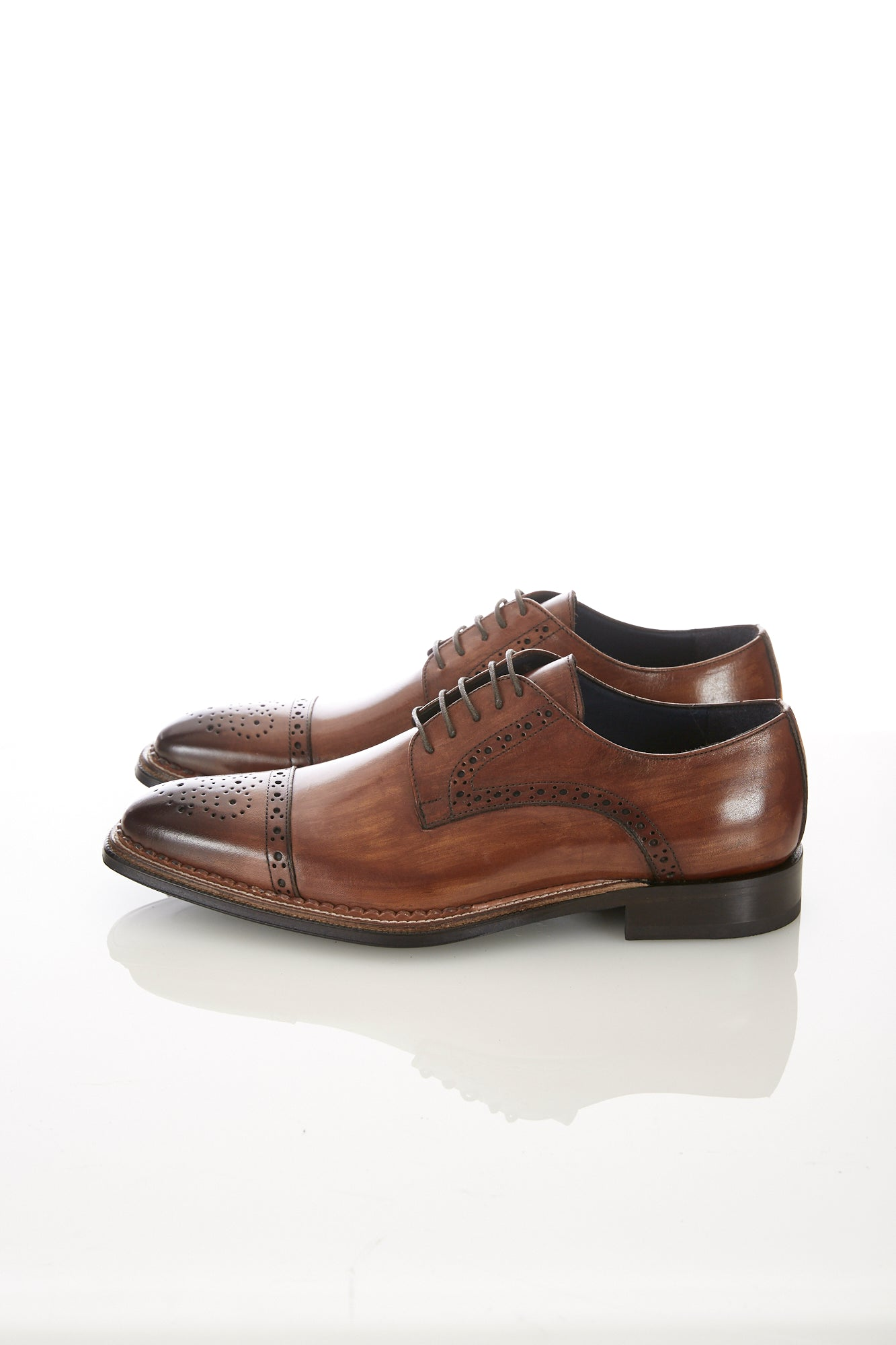 Raffaele D'Amelio Brown Medallion Cap Toe Shoe Side