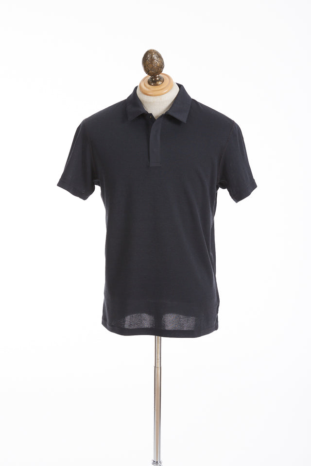 Reigning Champ Black Power Dry Pique Polo Shirt