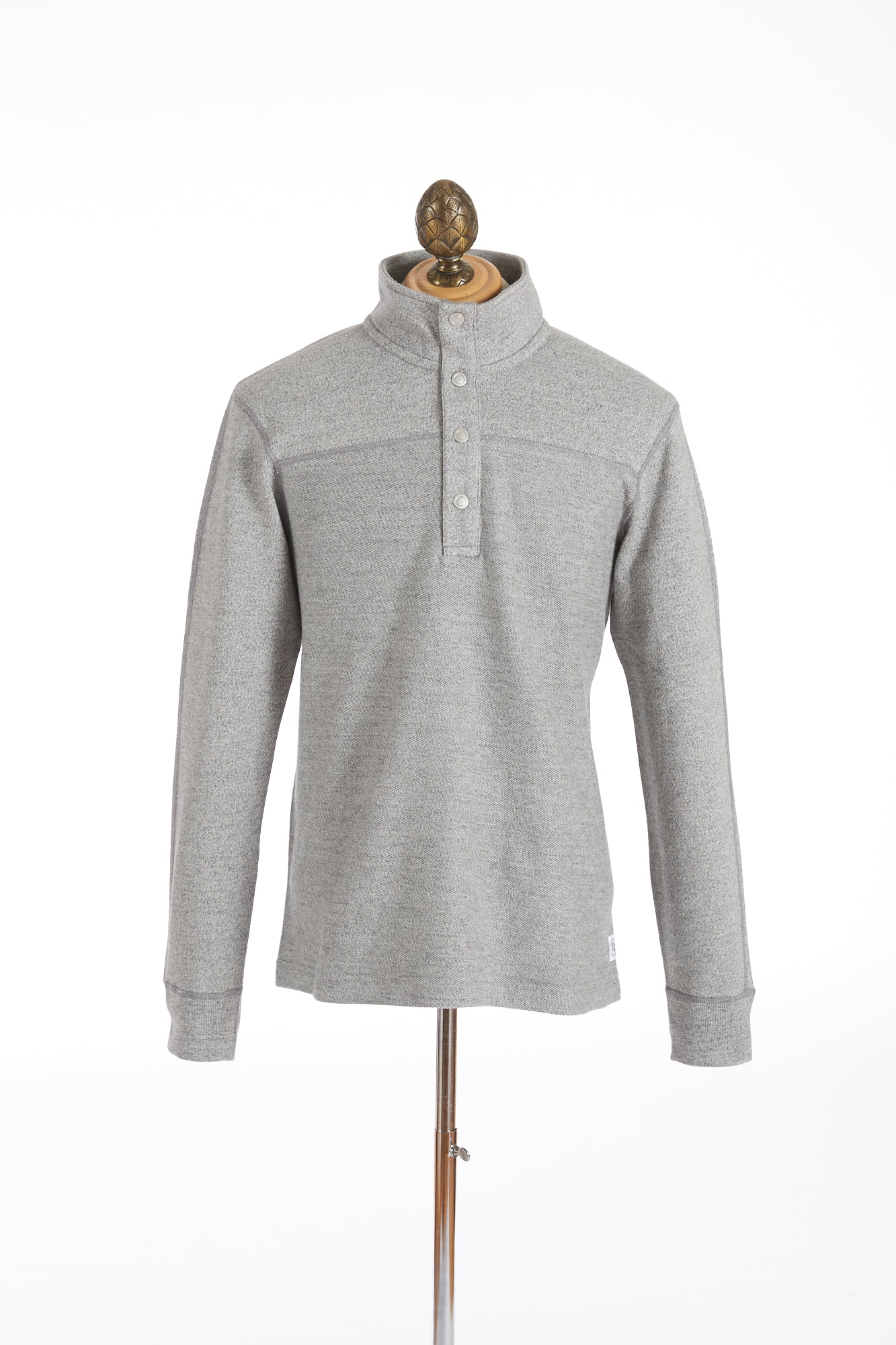 Reigning Champ Marled Grey Half Snap Pullover Sweater