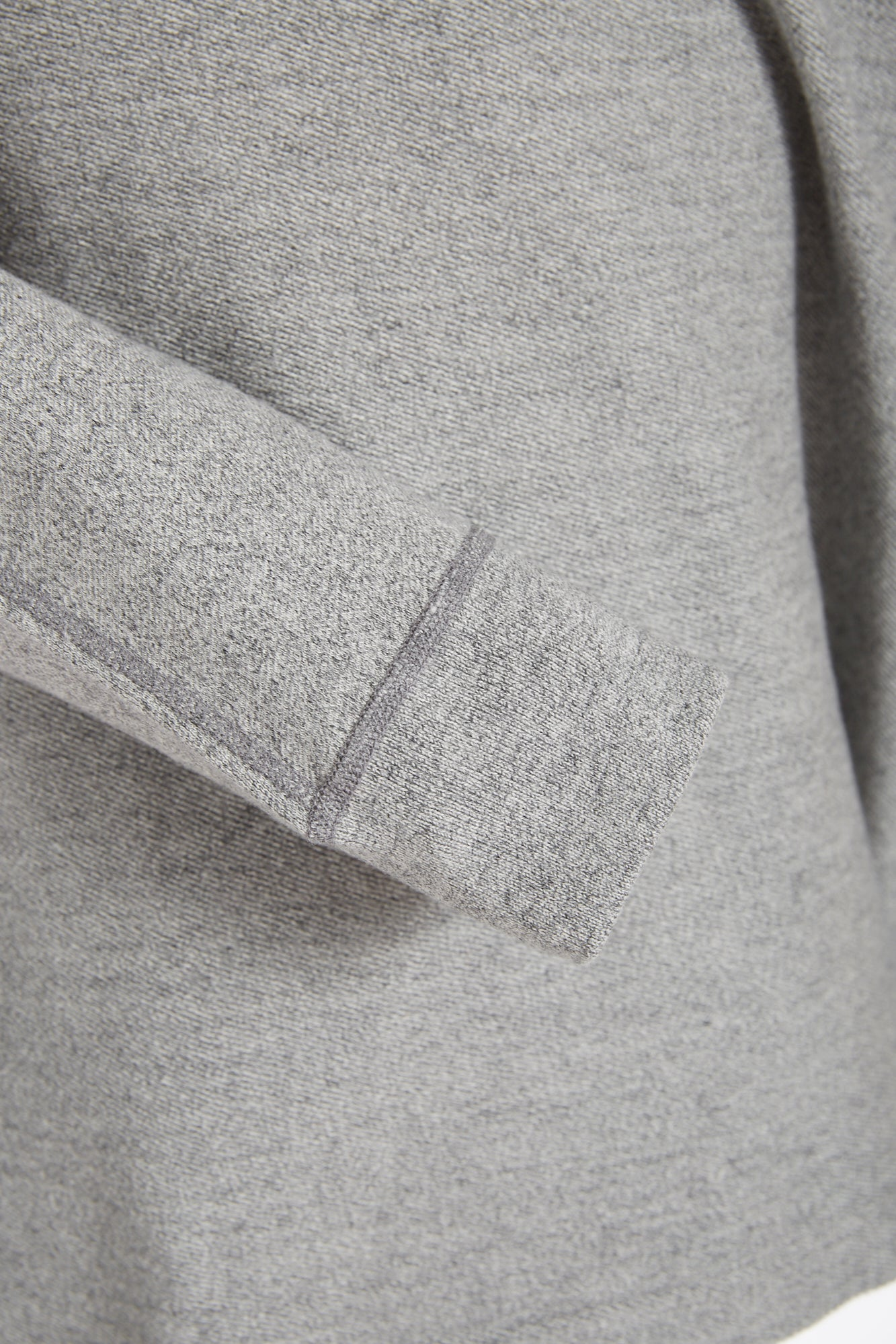 Reigning Champ Marled Grey Half Snap Pullover Sweater Cuff