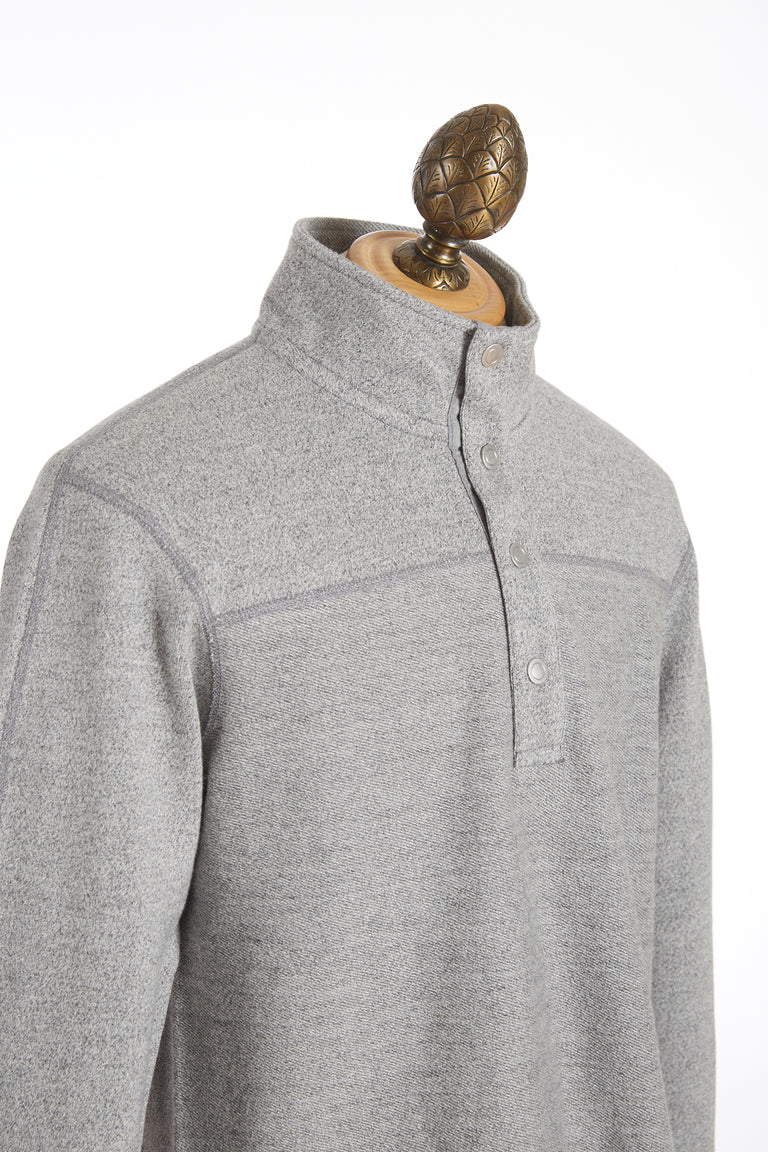 Reigning Champ Marled Grey Half Snap Pullover Sweater RC-3489