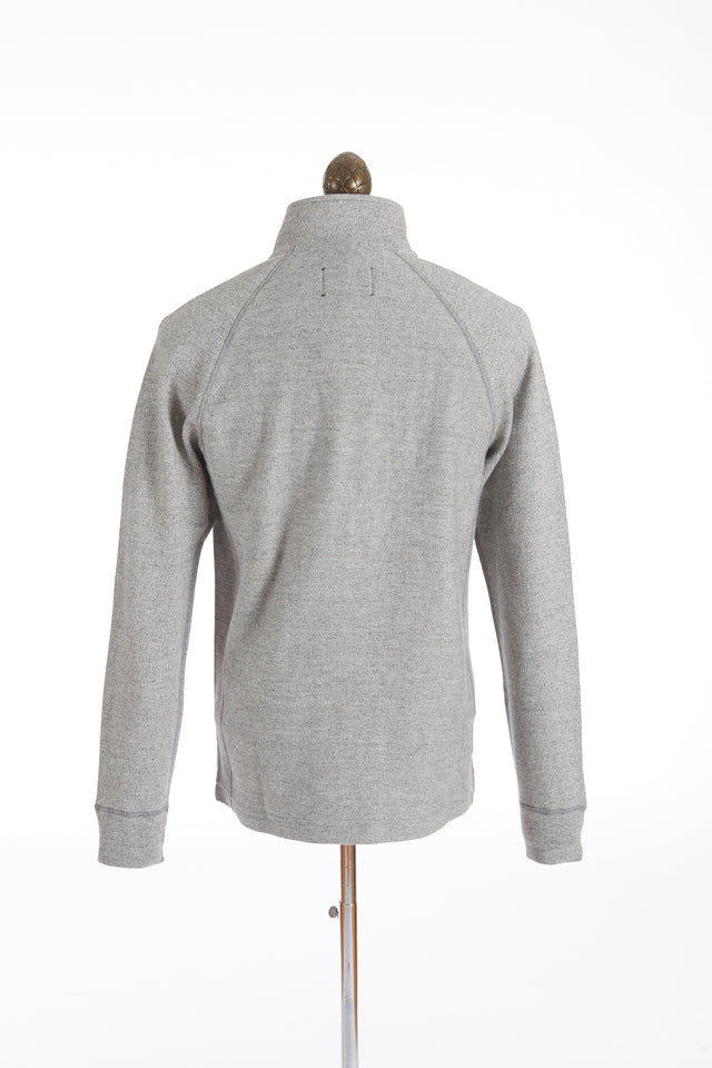 Reigning Champ Marled Grey Half Snap Twill Terry Pullover Sweater