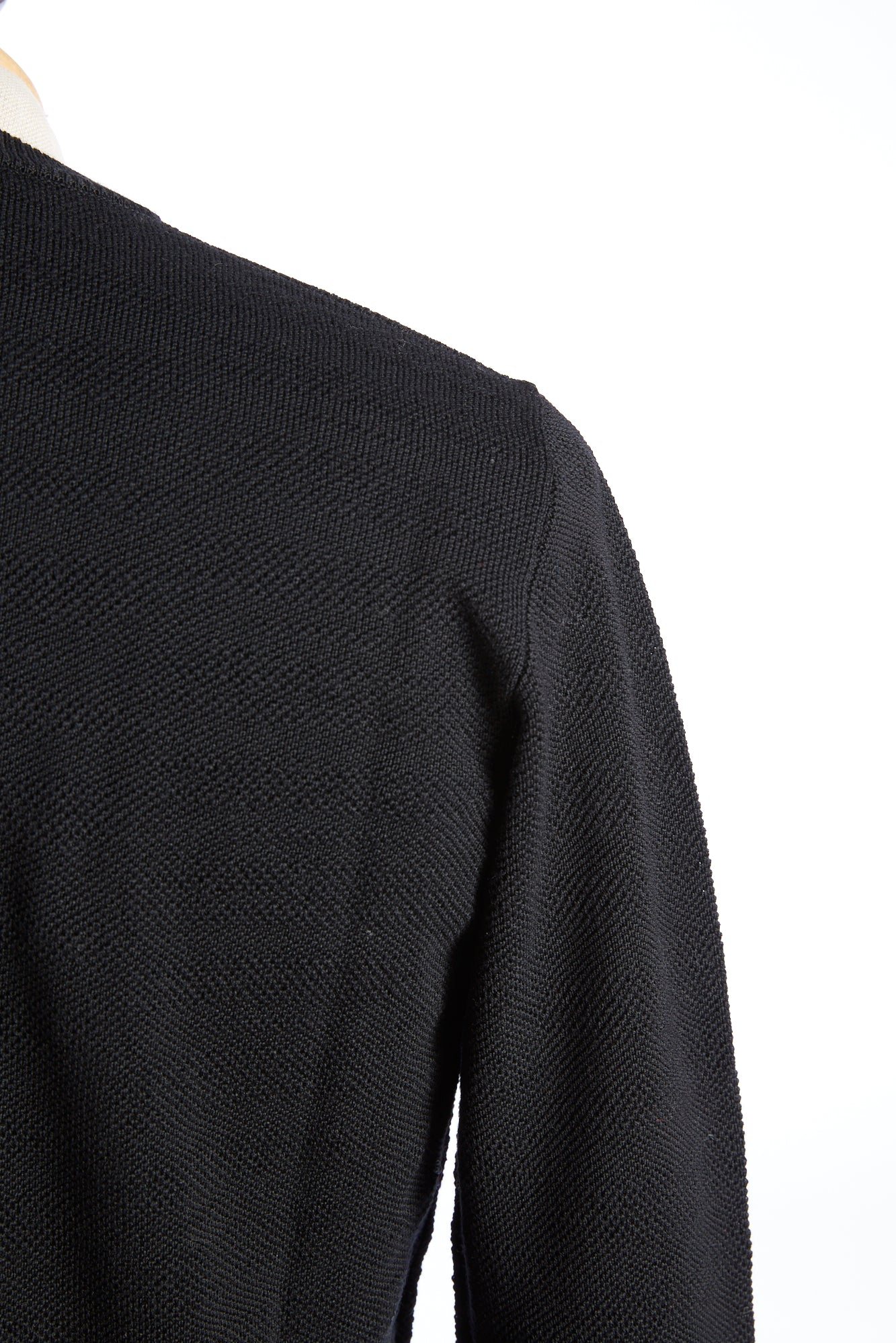 Roberto Collina Black Textured Stripe Sweater Shoulder