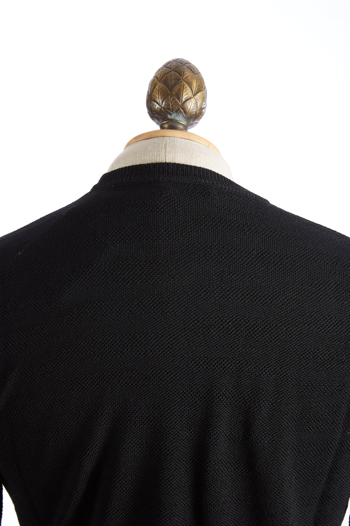 Roberto Collina Black Textured Stripe Sweater Zoom Back