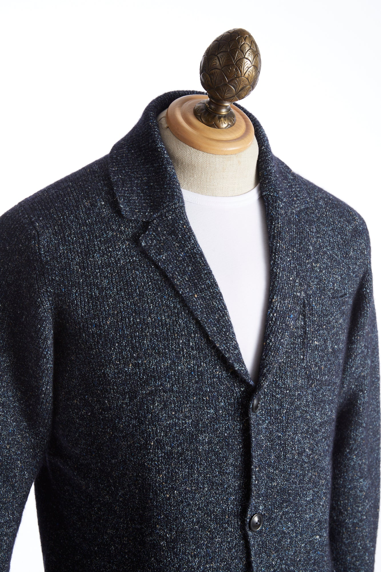 Roberto Collina Blue Donegal Cardigan Side
