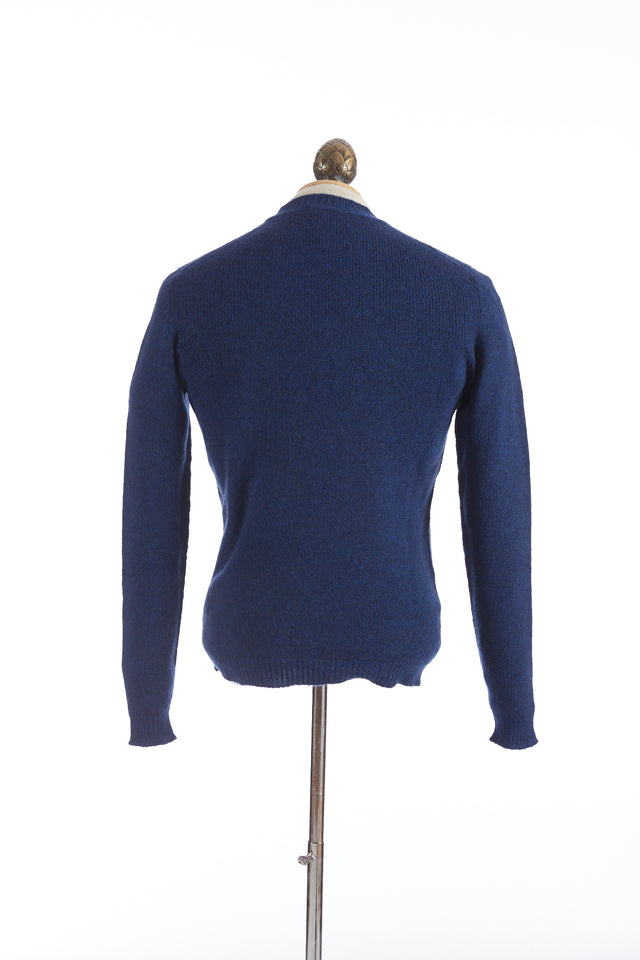 Roberto Collina Blue Wool-Camel Pullover Sweater