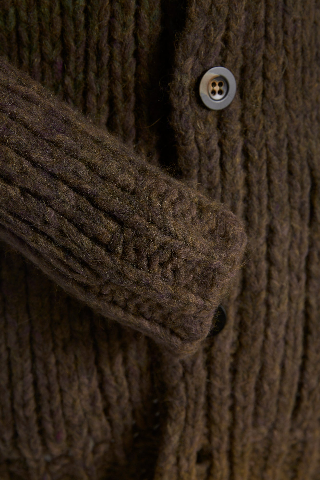 Roberto Collina Brown-Olive Dégradé Alpaca-Wool Long Cardigan