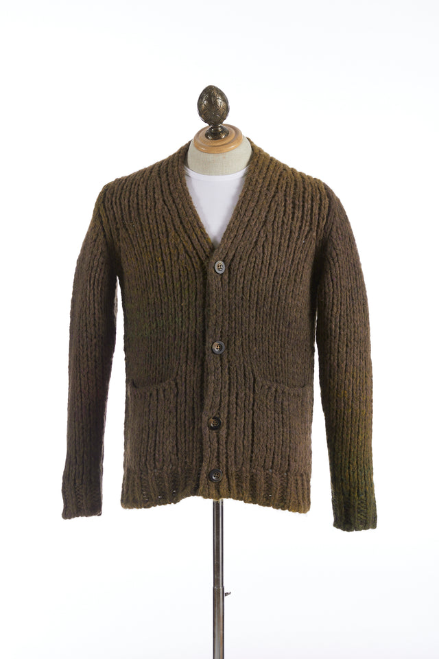 Roberto Collina Brown-Olive Dégradé Alpaca Long Cardigan