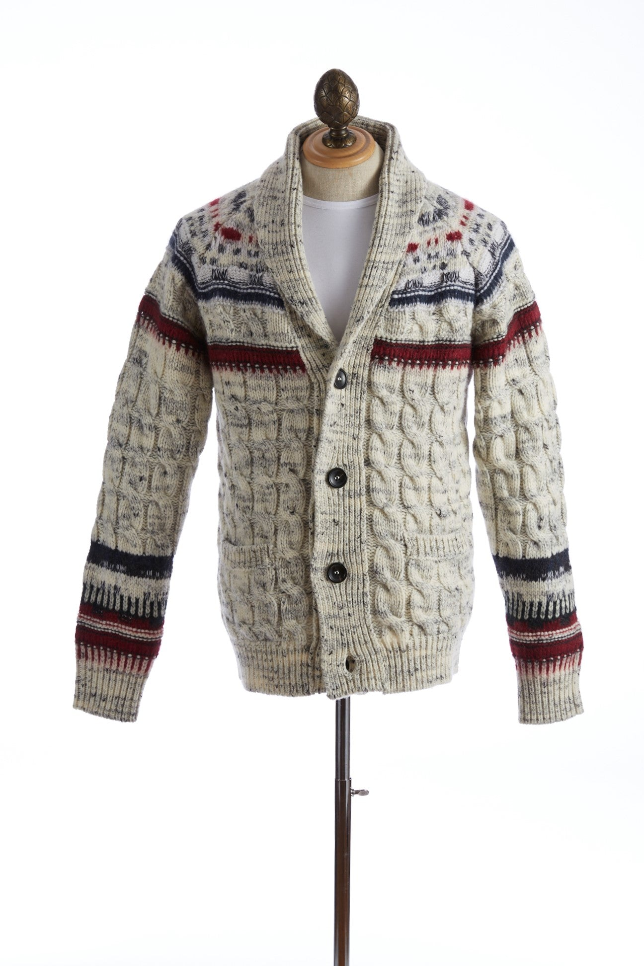 Roberto Collina Fair Isle Shawl Collar Cardigan