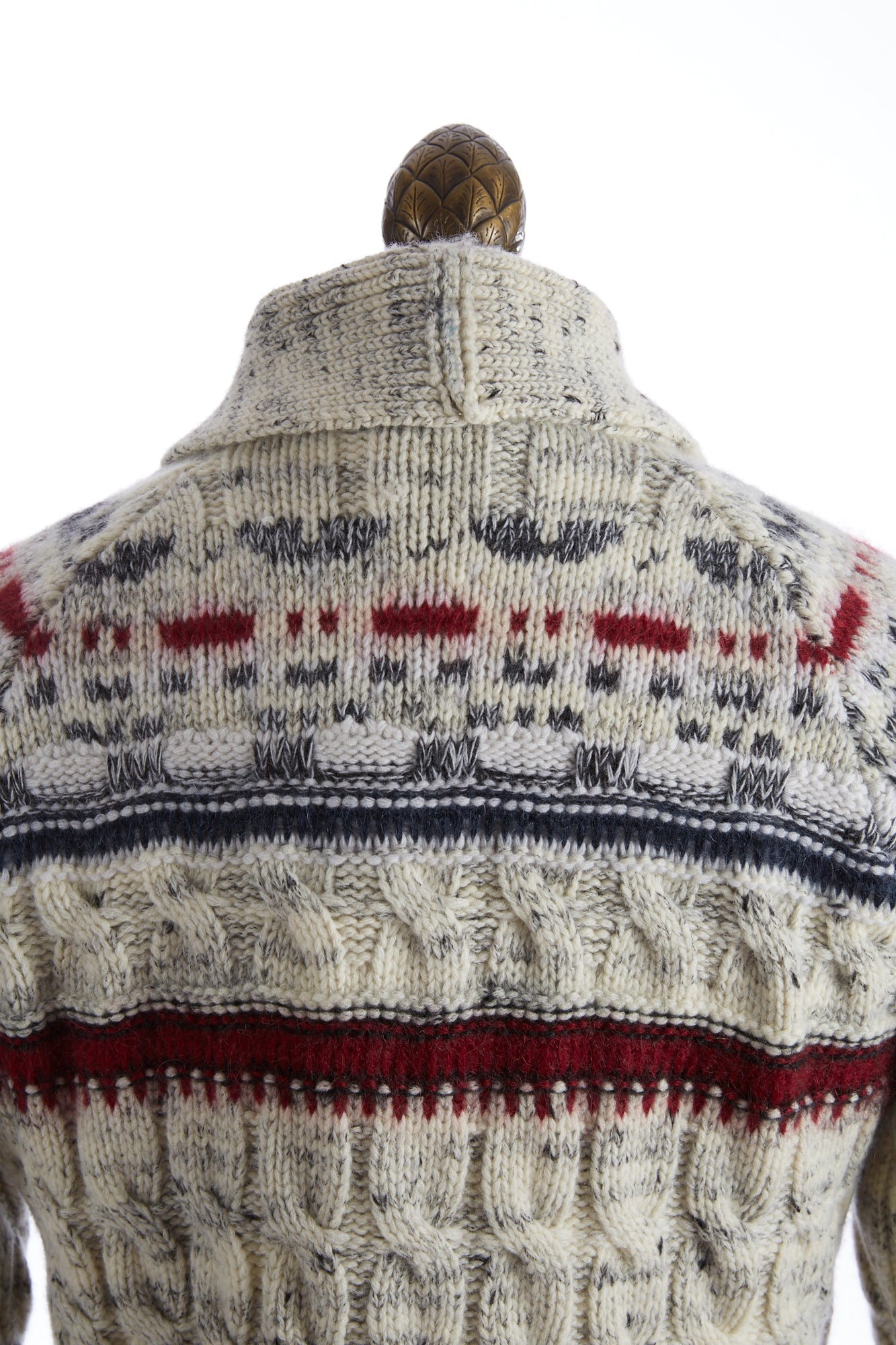 Roberto Collina Fair Isle Shawl Collar Cardigan Back Zoom
