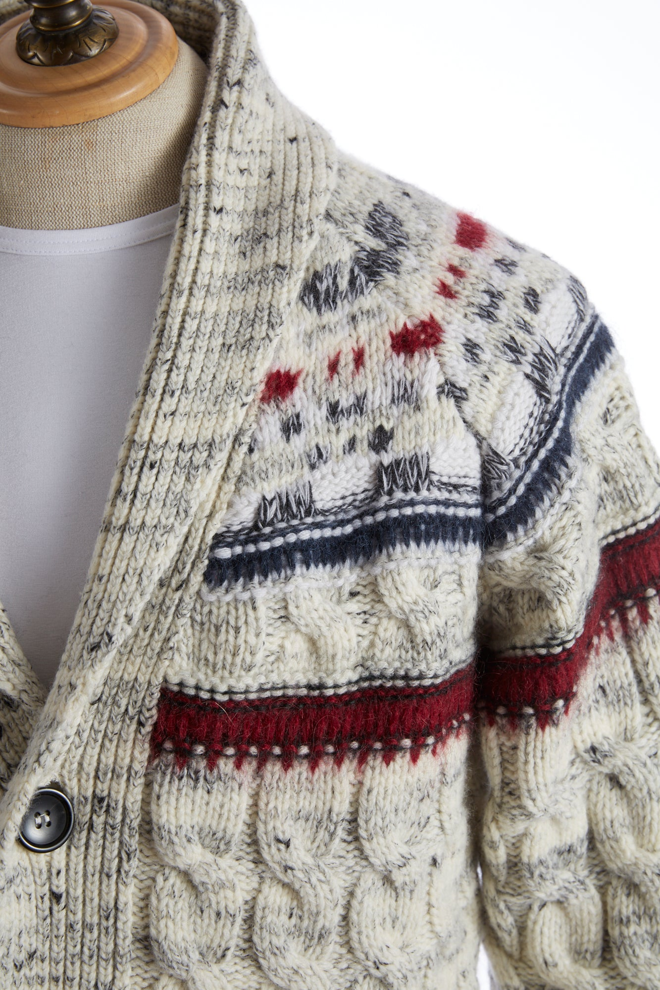 Roberto Collina Fair Isle Shawl Collar Cardigan Shoulder