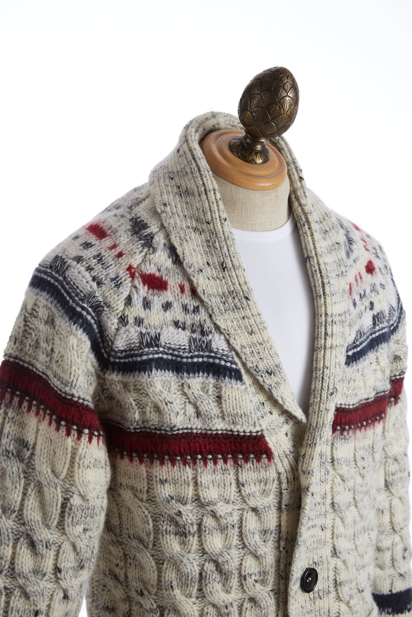 Roberto Collina Fair Isle Shawl Collar Cardigan Side