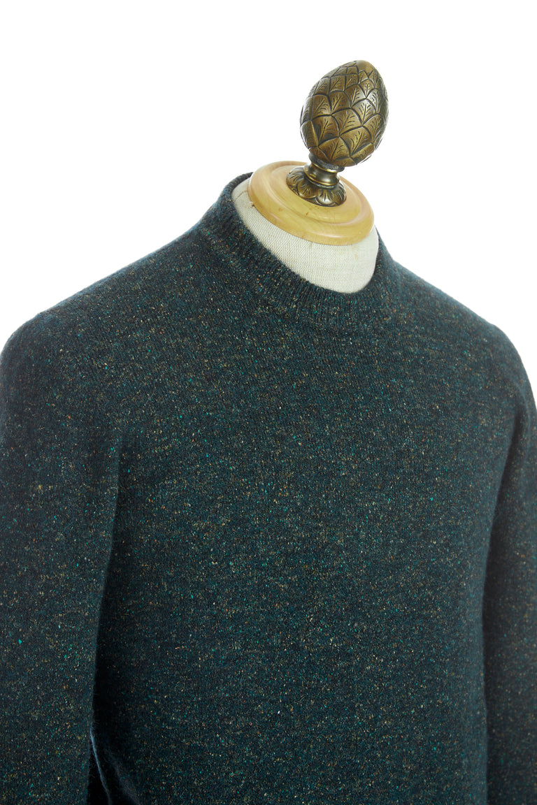 Roberto Collina Green Melange Wool Crewneck Sweater
