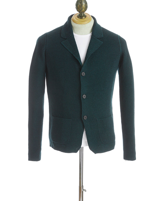Roberto Collina Green Wool Notch Lapel Cardigan