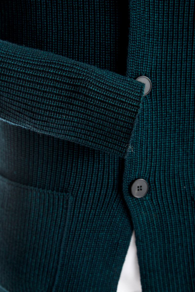 Roberto Collina Green Wool Notch Lapel Cardigan Cuff