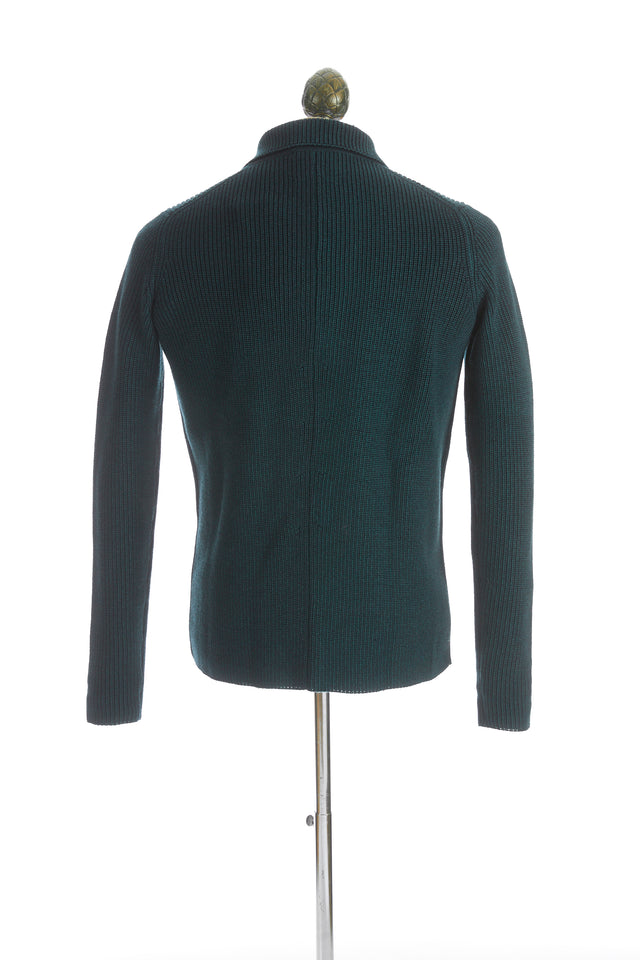 Roberto Collina Green Wool Notch Lapel Sweater