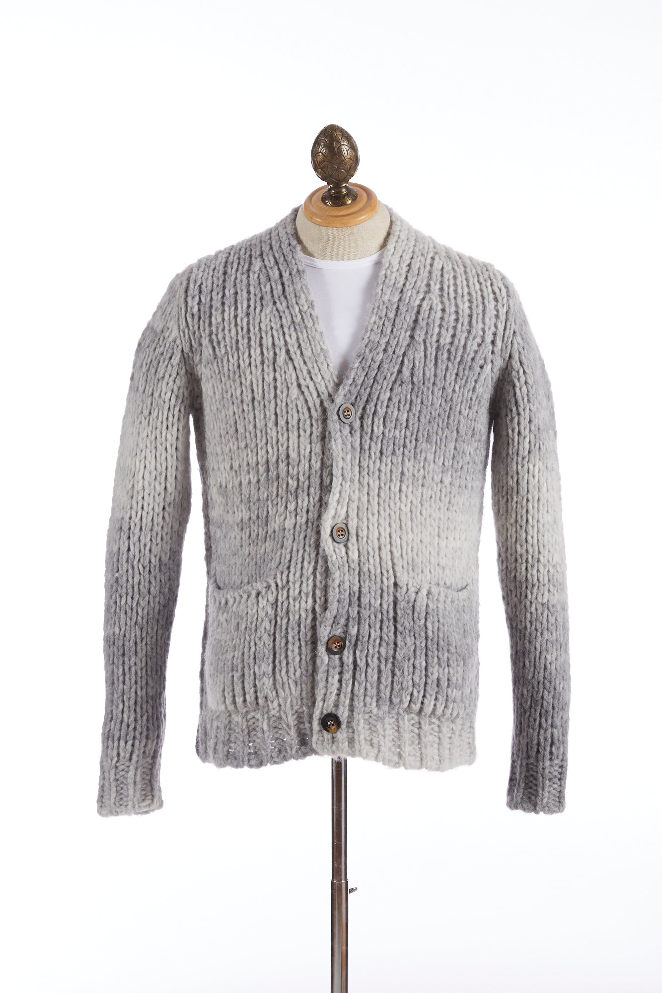Roberto Collina Grey Dégradé Wool-Alpaca Long Cardigan