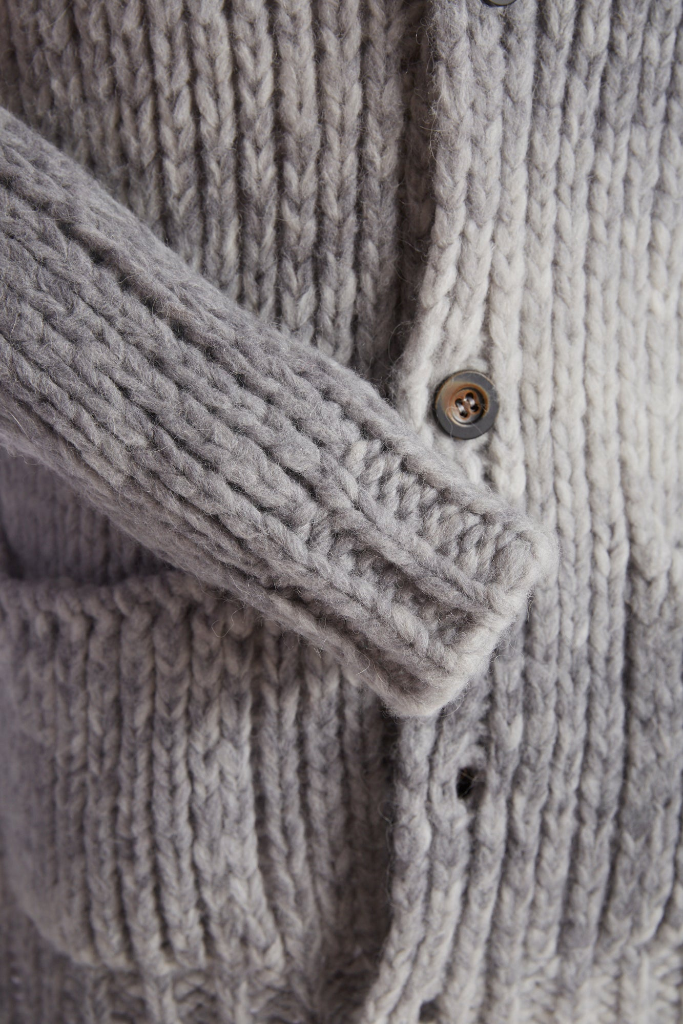 Roberto Collina Grey Dégradé Wool-Alpaca Long Cardigan Sleeve
