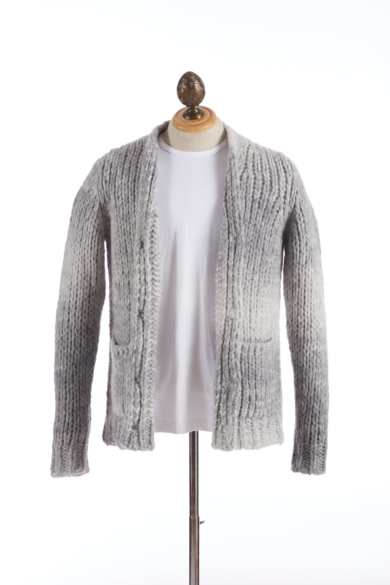 Roberto Collina Grey Dégradé Wool-Alpaca Long Cardigan Sweater
