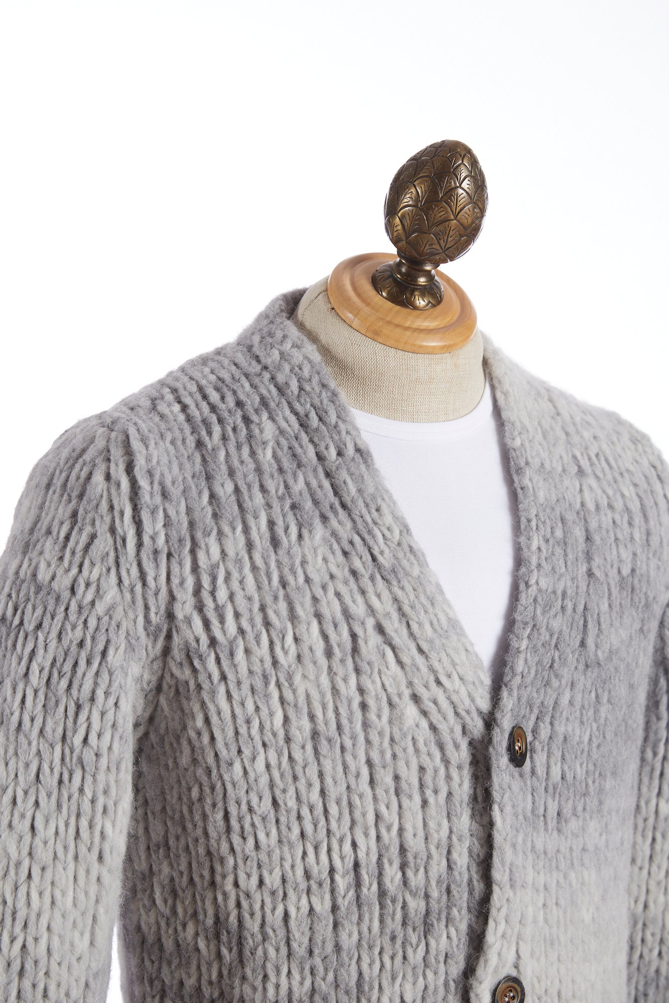 Roberto Collina Grey Dégradé Wool Cardigan Sweater