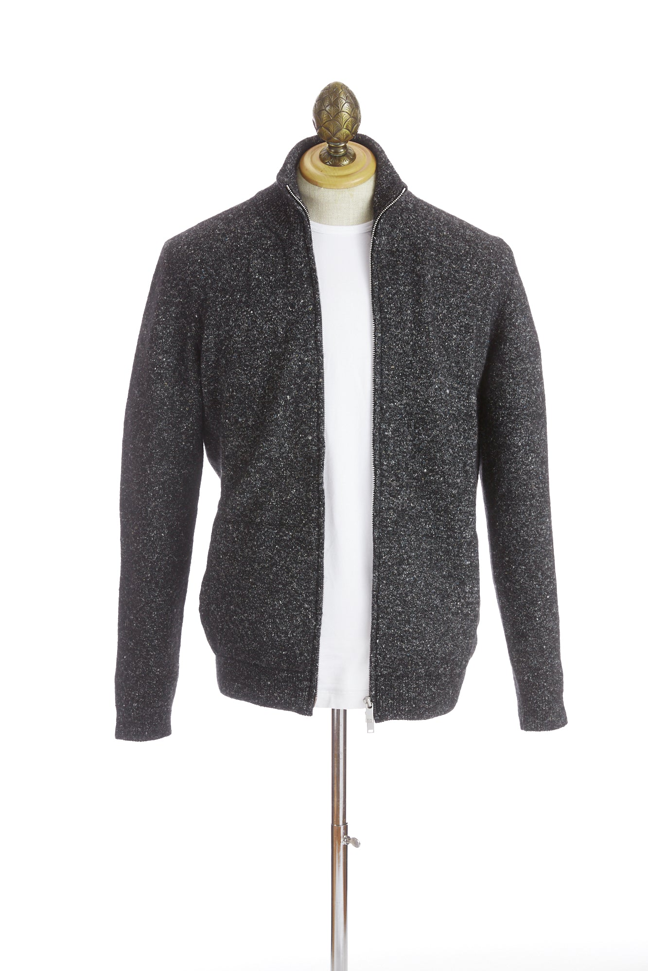 Roberto Collina Grey Donegal Full-Zip Sweater