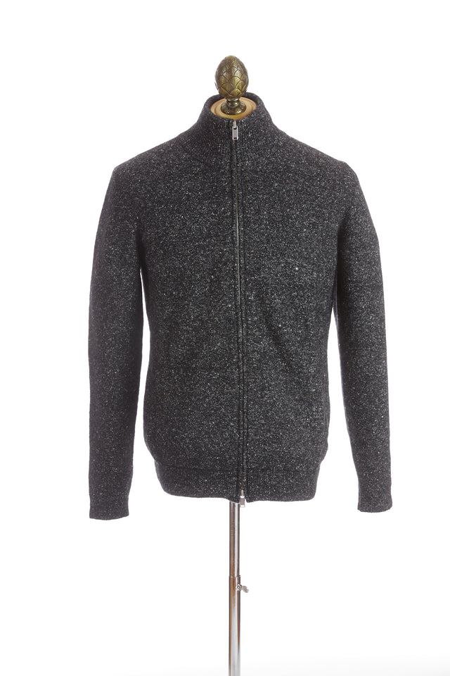 Roberto Collina Grey Melange Full-Zip Sweater