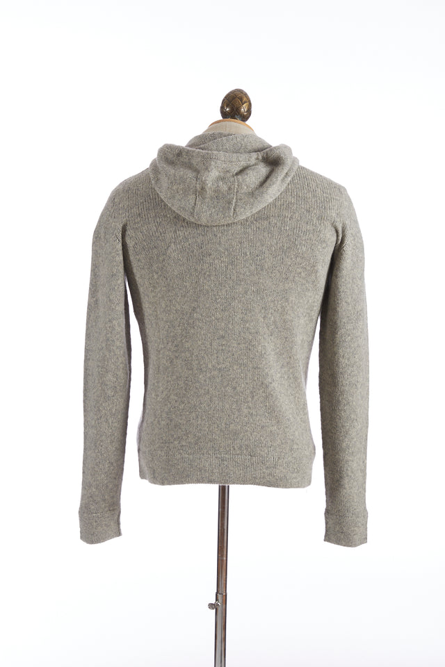 Roberto Collina Grey Wool-Camel Hoodie Sweater
