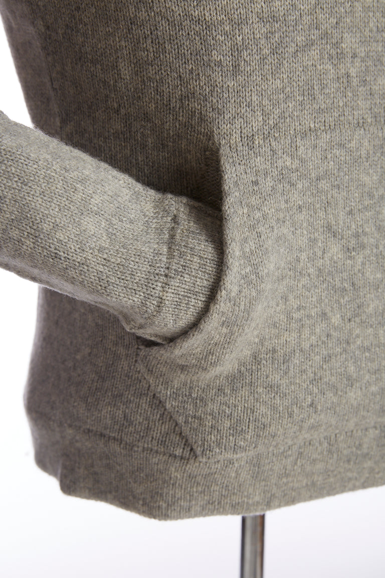 Roberto Collina Grey Wool-Camel Knit Hoodie