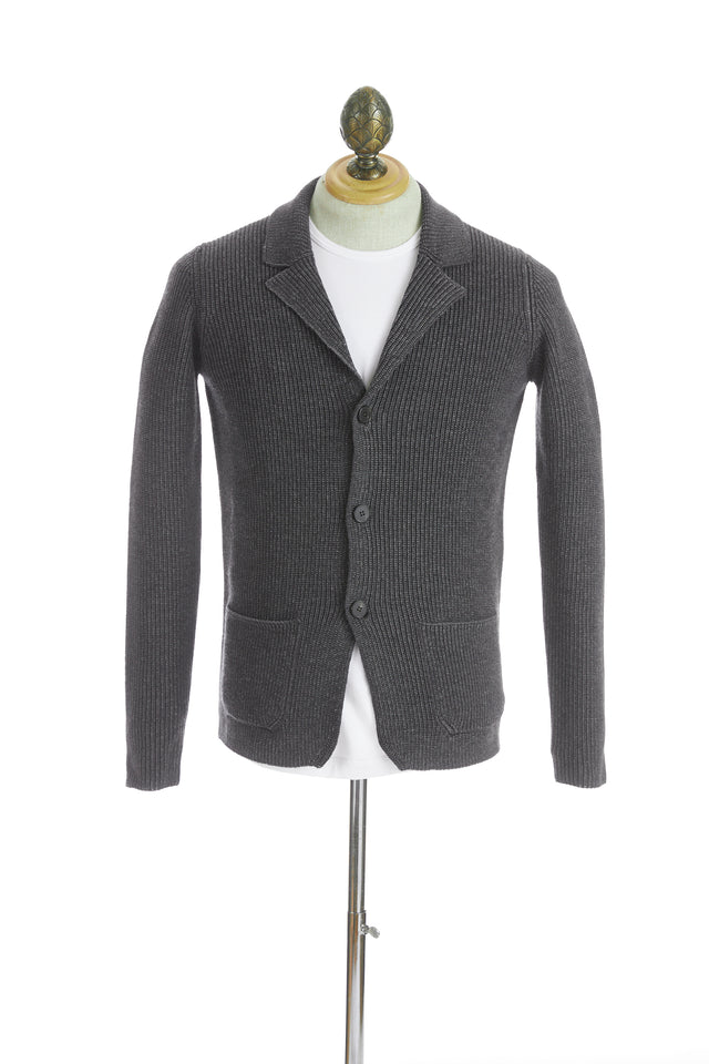 Roberto Collina Grey Wool Notch Lapel Cardigan