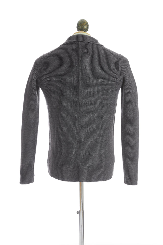 Roberto Collina Grey Wool Notch Lapel Sweater Jacket