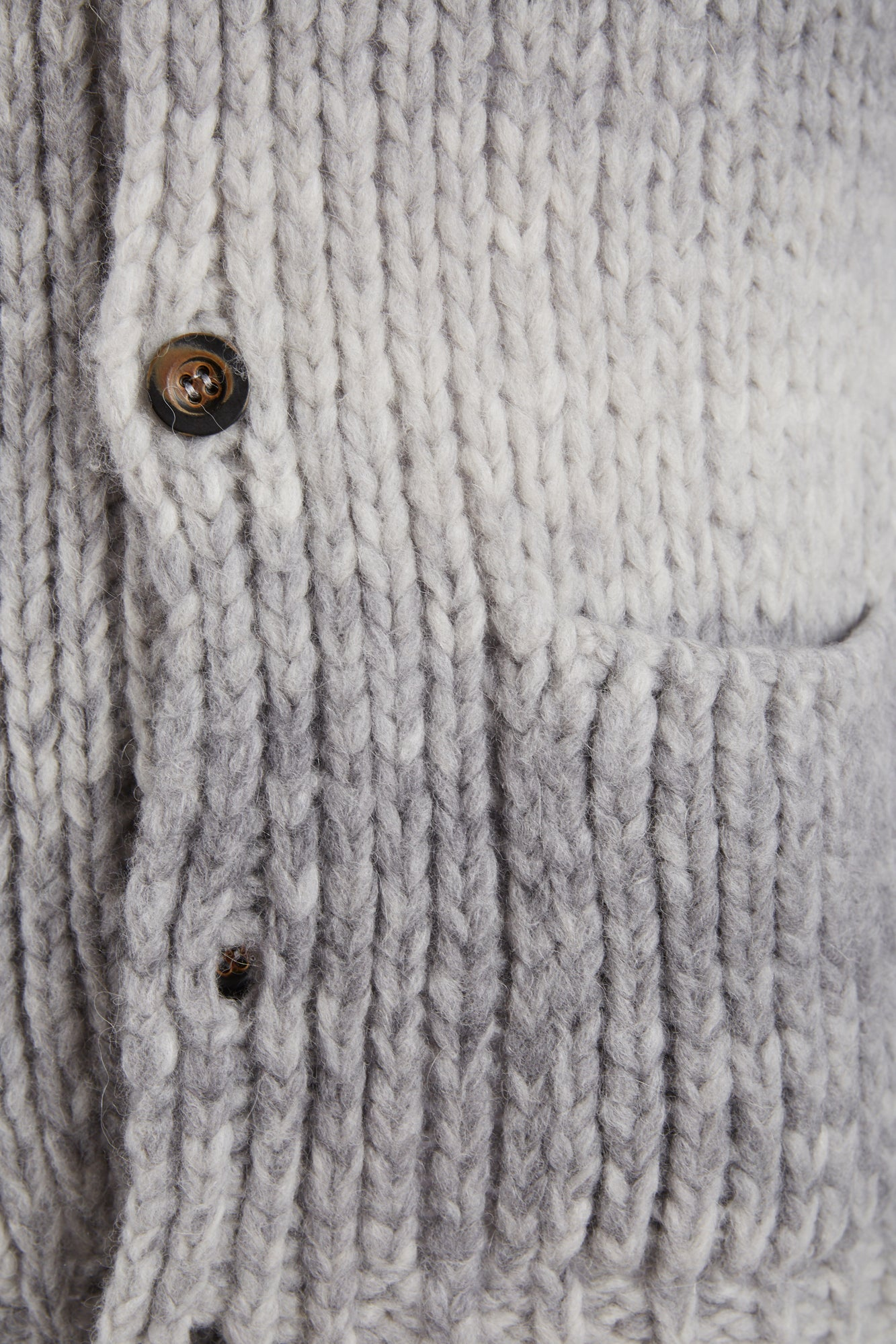 Roberto Collina Light Grey Dégradé Wool-Alpaca Long Cardigan
