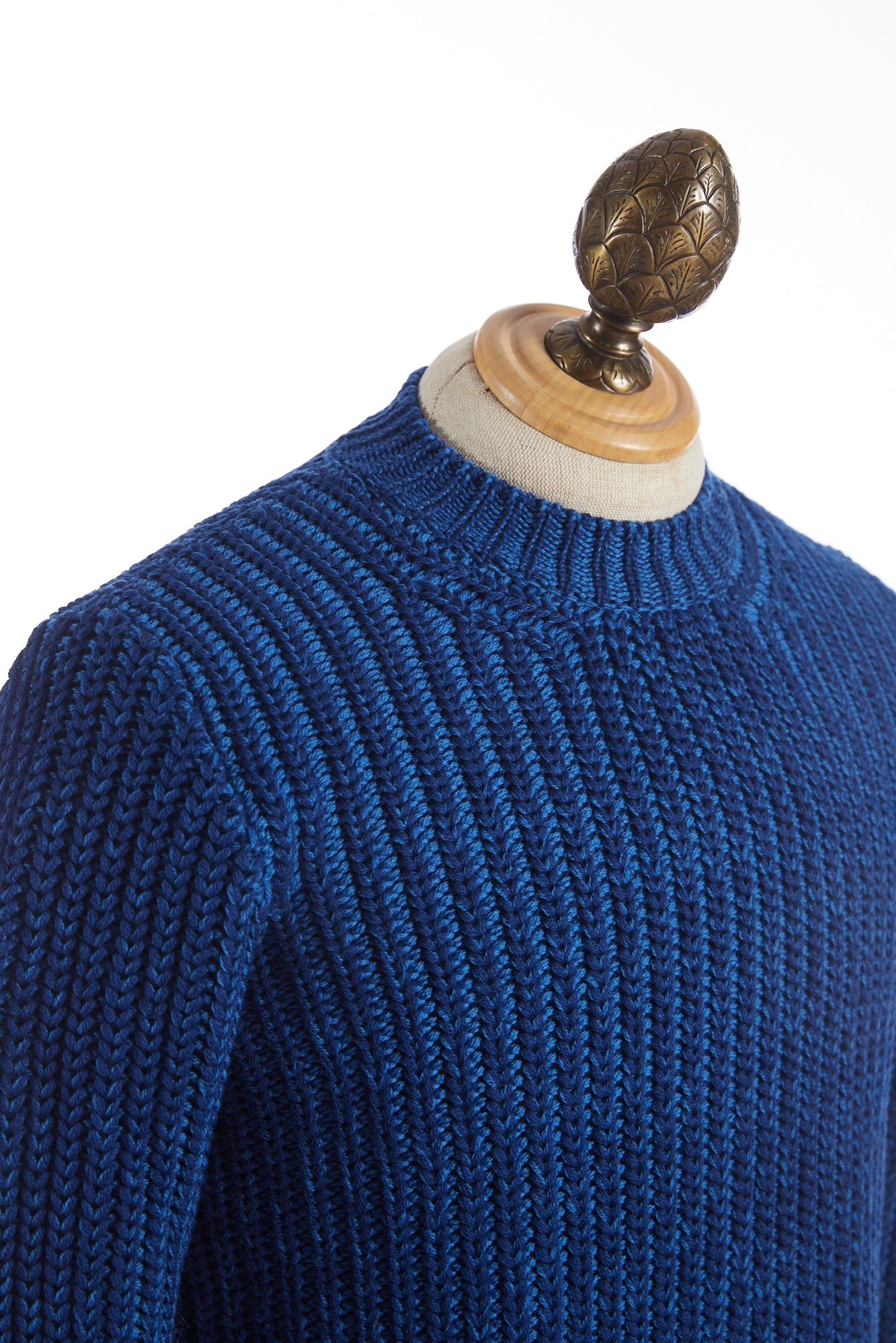 Roberto Collina Melange Blue Cable Knit Pullover