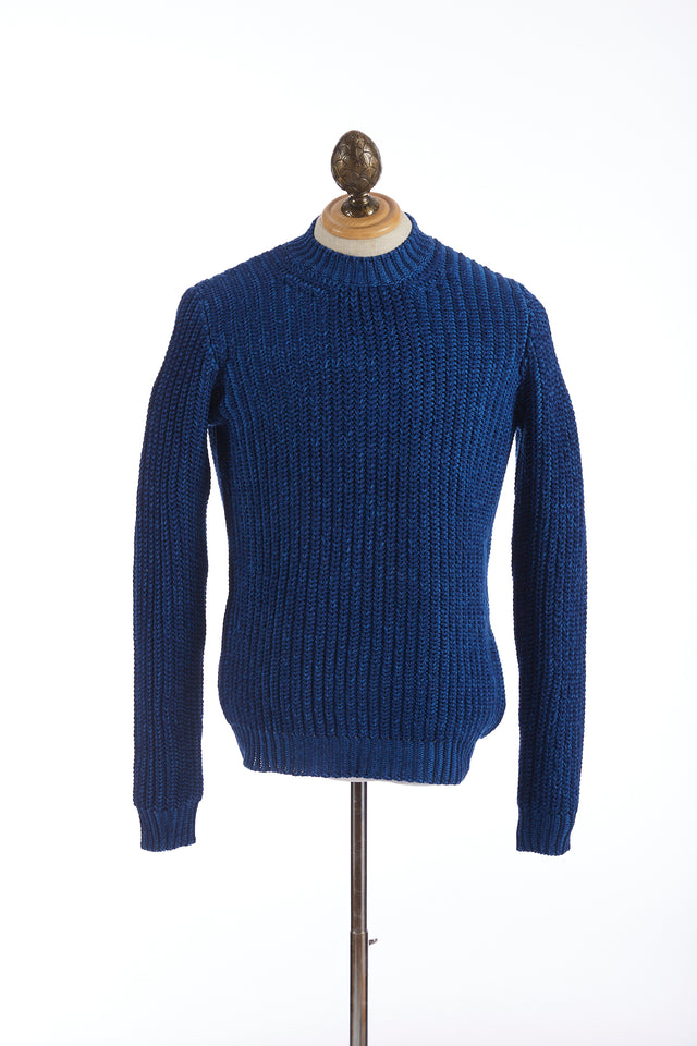 Roberto Collina Melange Blue Cable Knit Sweater