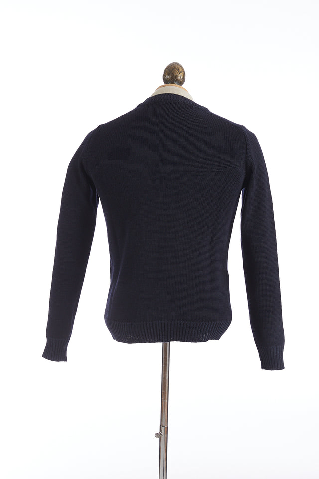 Roberto Collina Navy Wool Crewneck Sweater