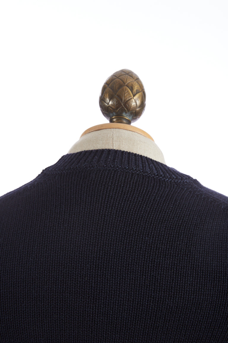 Roberto Collina Navy Wool Pullover Crewneck Sweater