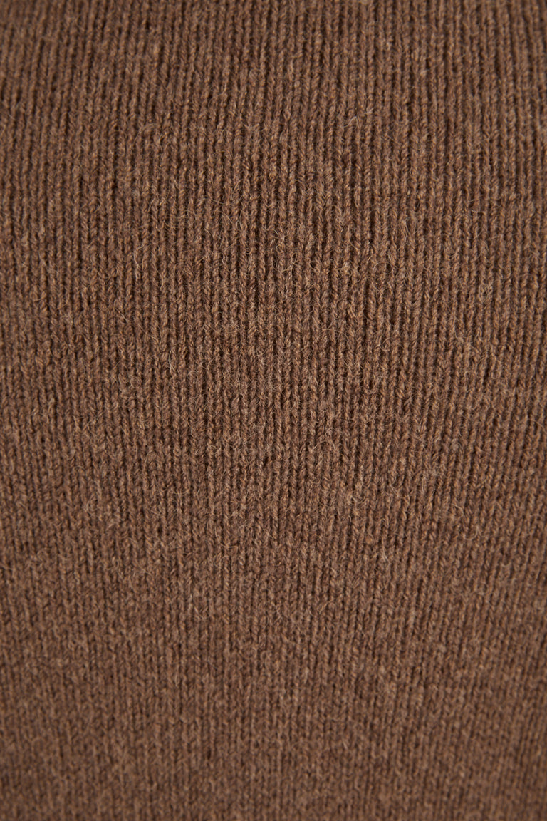 Roberto Collina Tobacco Wool-Camel Crewneck Sweater