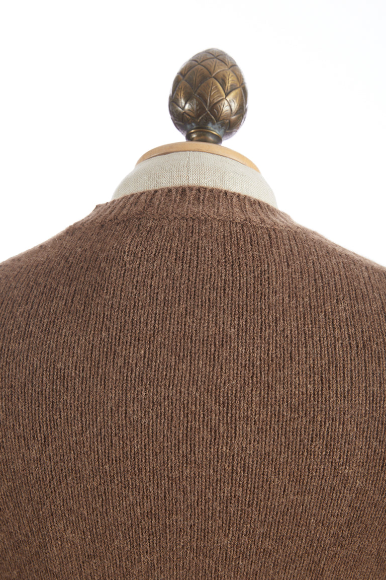 Roberto Collina Tobacco Wool-Camel Pullover Crewneck Sweater