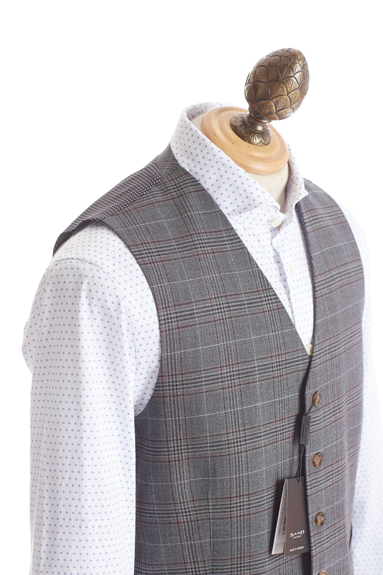 SAND Grey Glencheck Wool Vest Side
