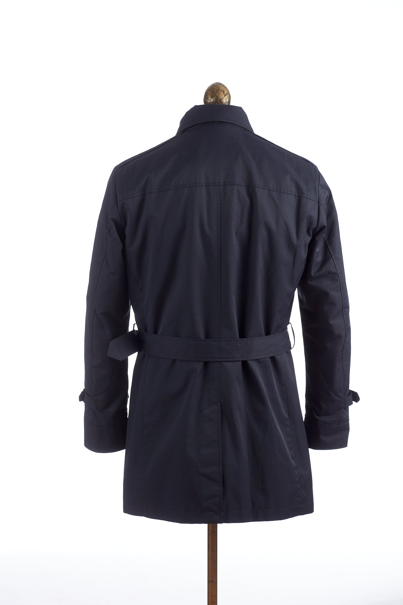 SAND Navy Double Breasted Trench Coat Back