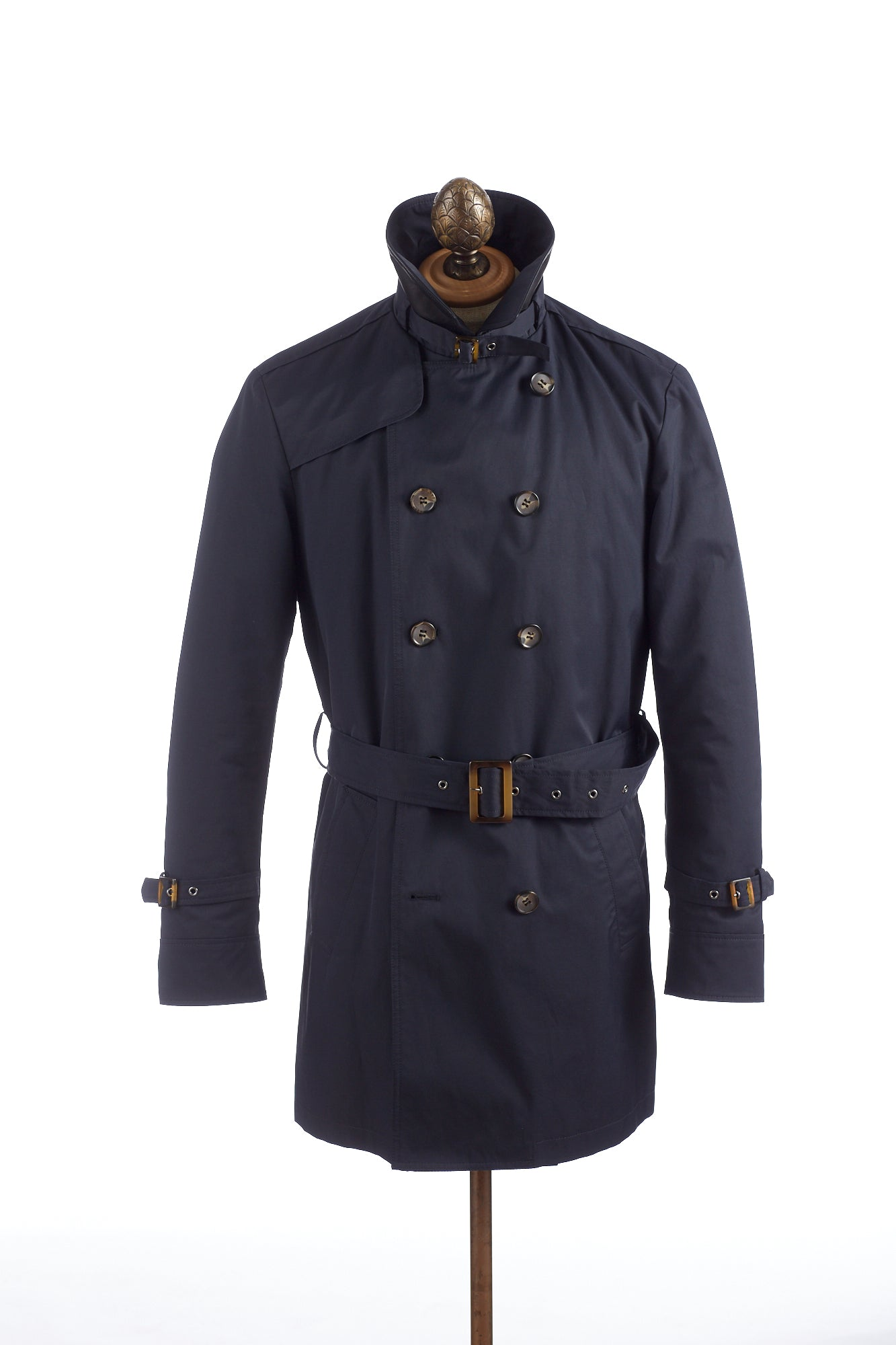 SAND Navy Double Breasted Trench Coat Popped Collar