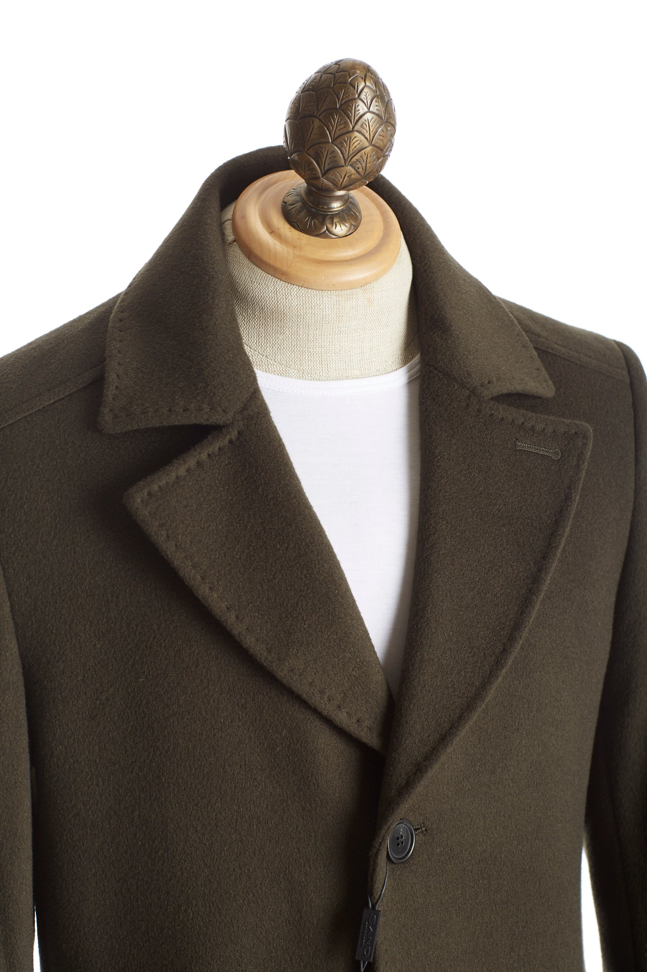SAND Olive Green Wool-Cashmere Lapels