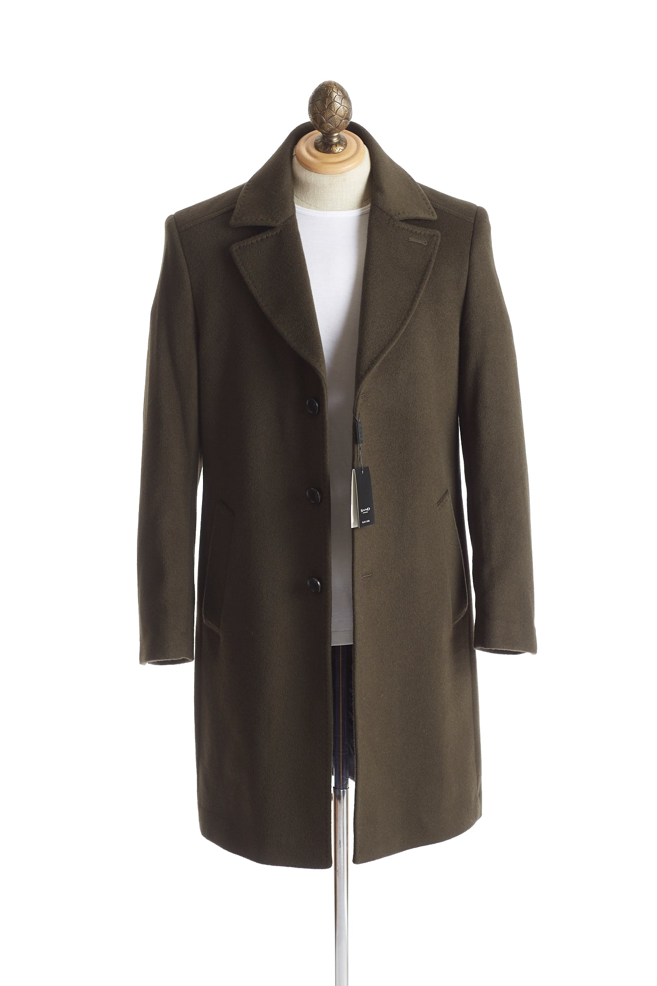 SAND Olive Green Wool-Cashmere Officer Coat