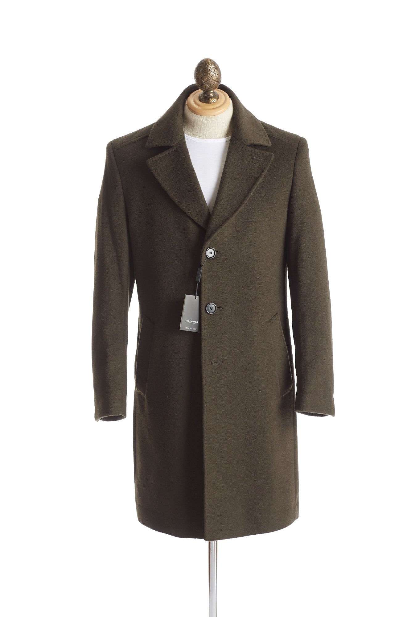 SAND Olive Green Wool-Cashmere Topcoat