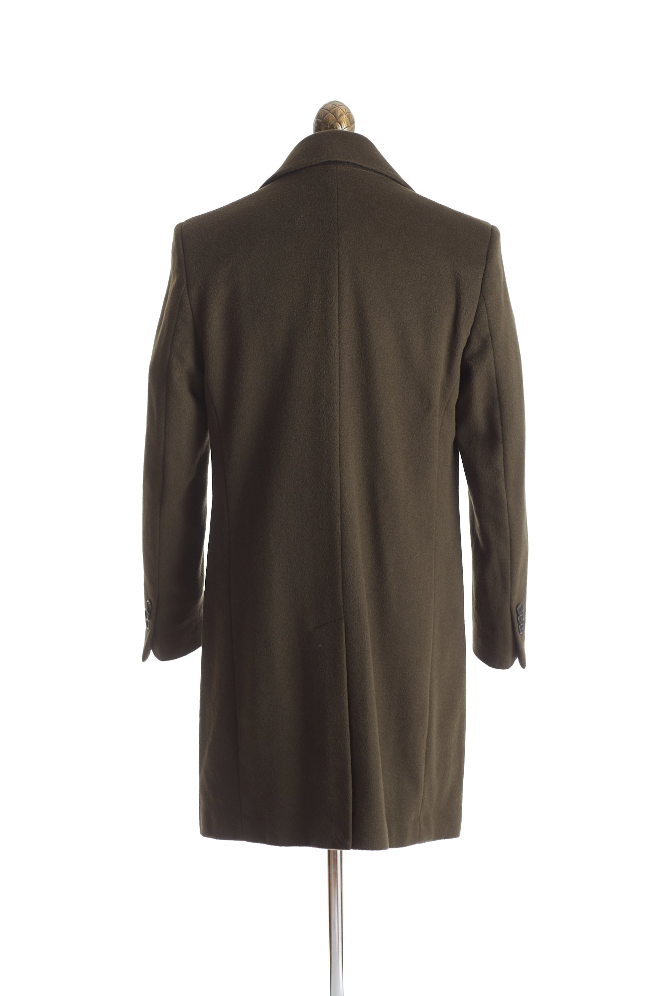 SAND Olive Green Wool-Cashmere Topcoat Back