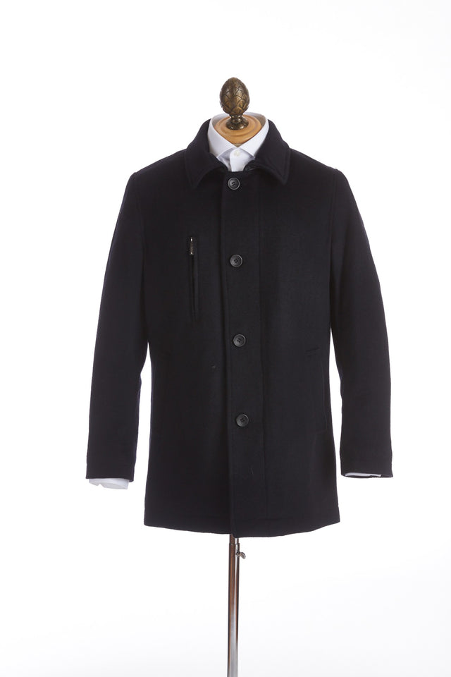 SAND Wool Cashmere Black Car Coat