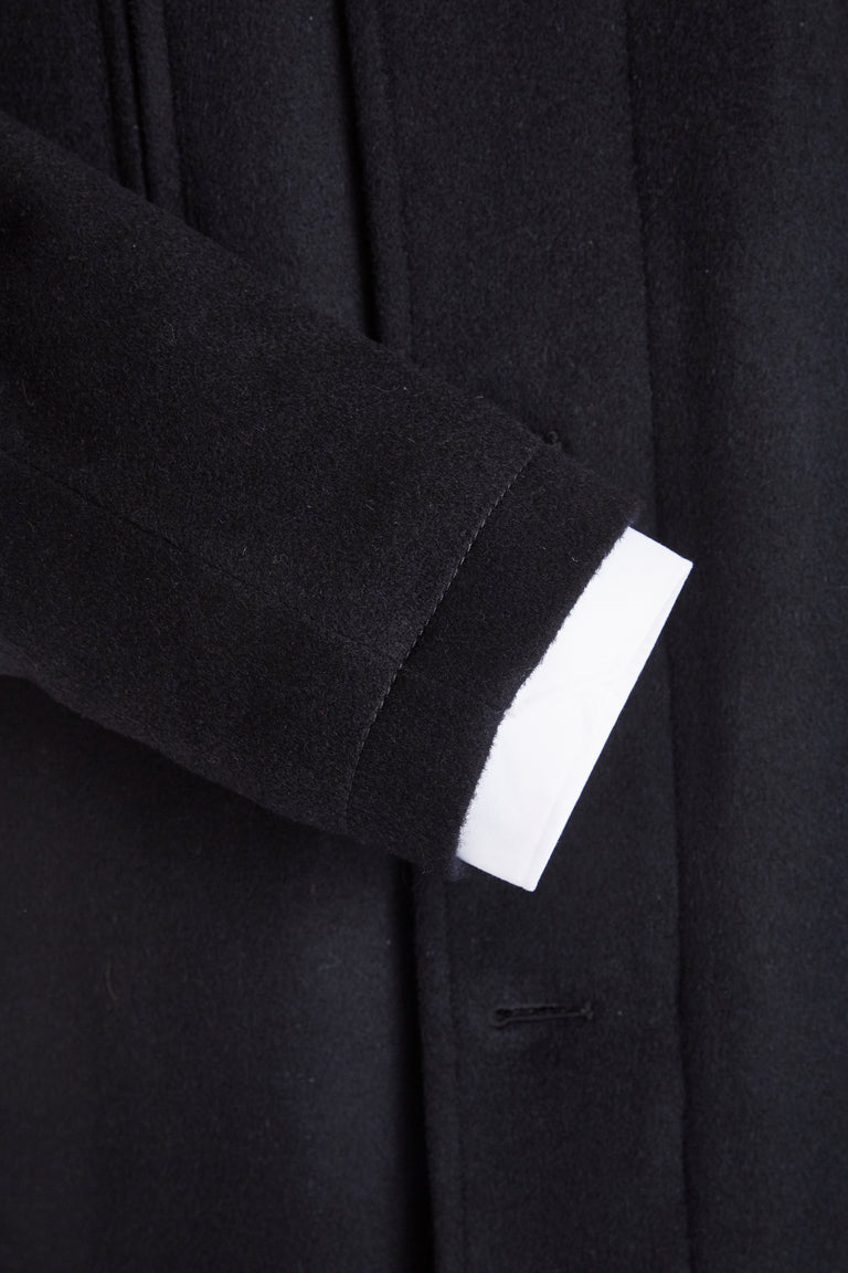 SAND Wool Cashmere Black Car Coat Sleeve