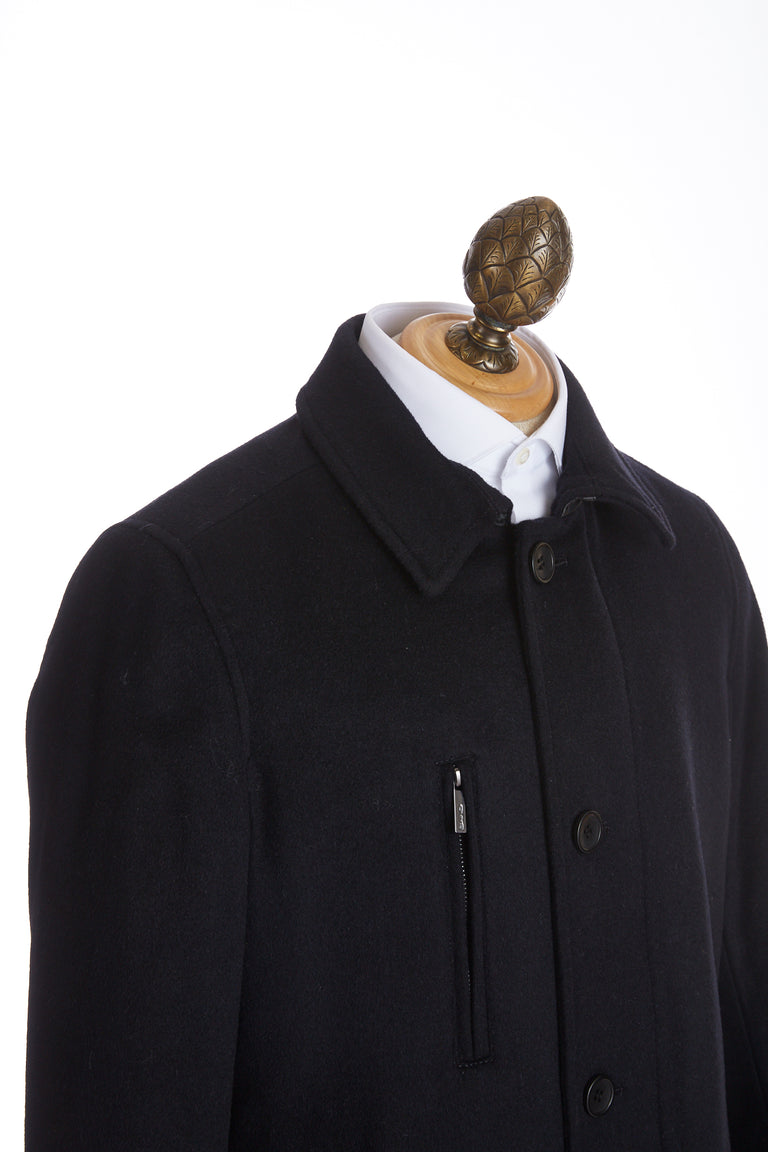 SAND Wool Cashmere Black Topcoat
