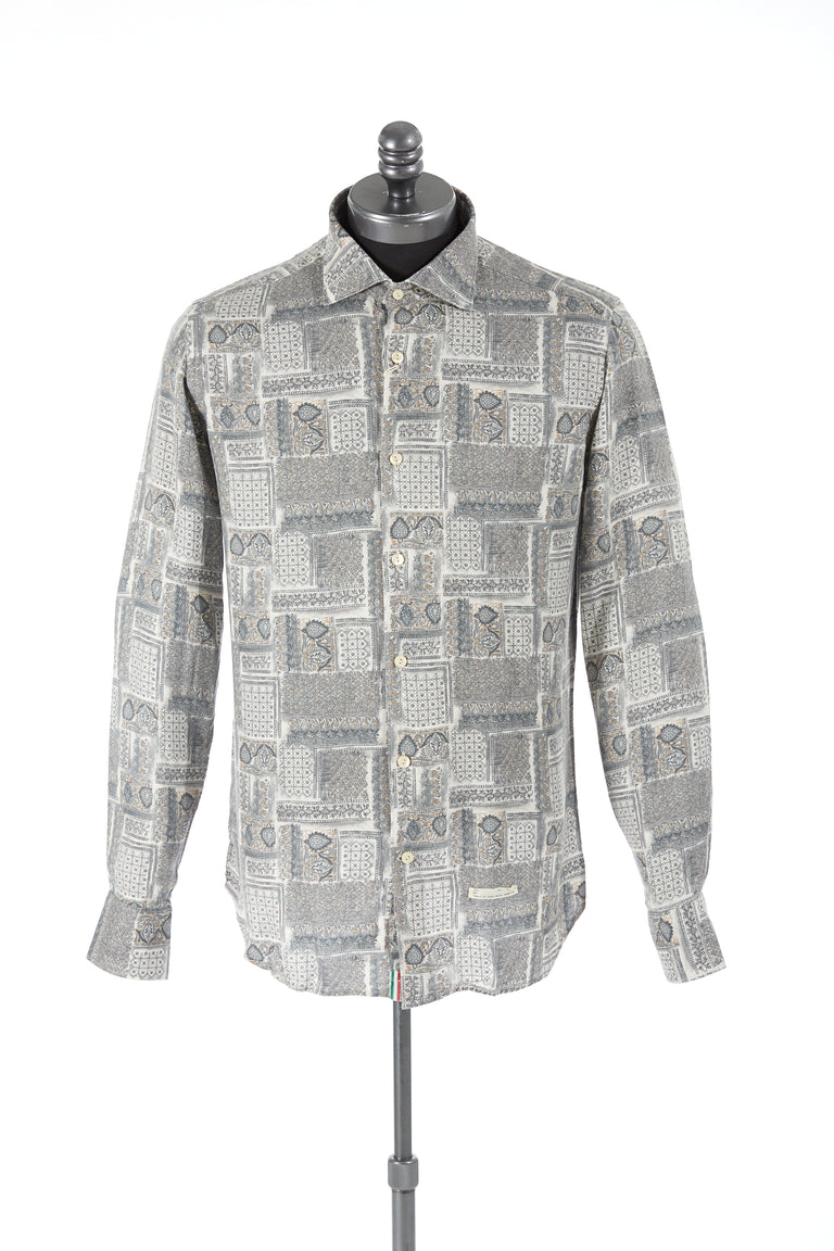 Tintoria Mattei Blocked Pattern Print Flannel Shirt