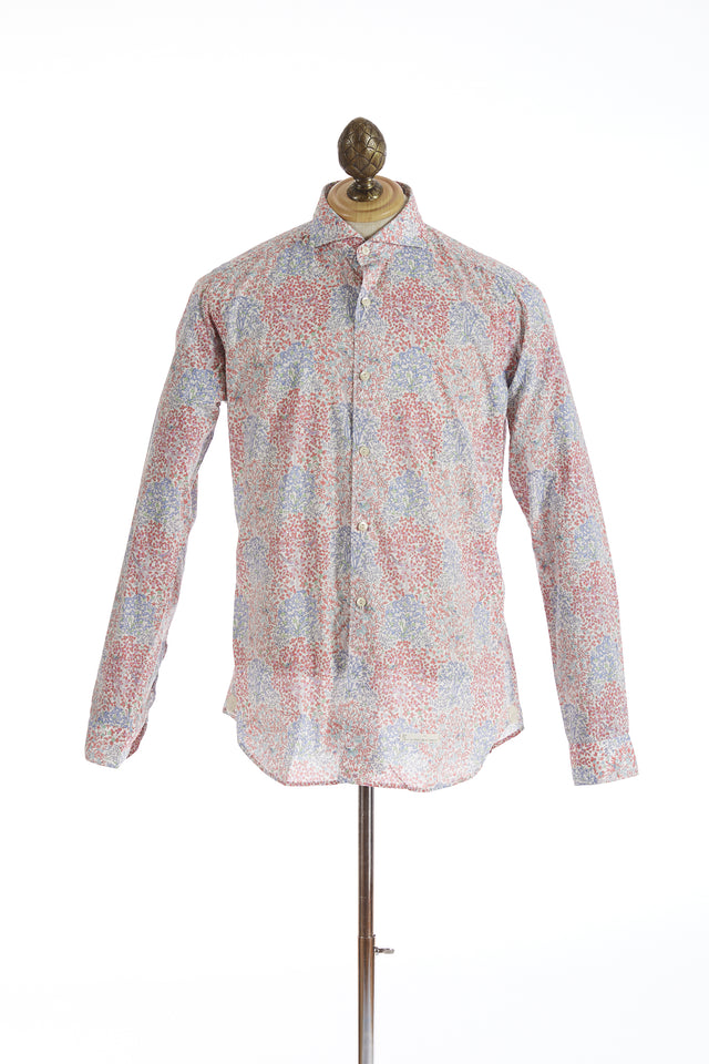 Tintoria Mattei Blue and Red Floral Print Shirt