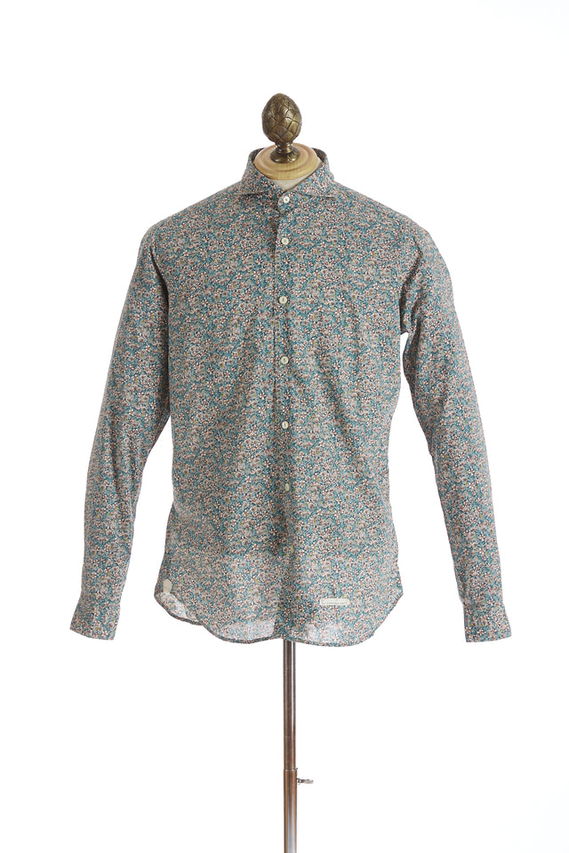 Tintoria Mattei Green Jungle Floral Print Shirt
